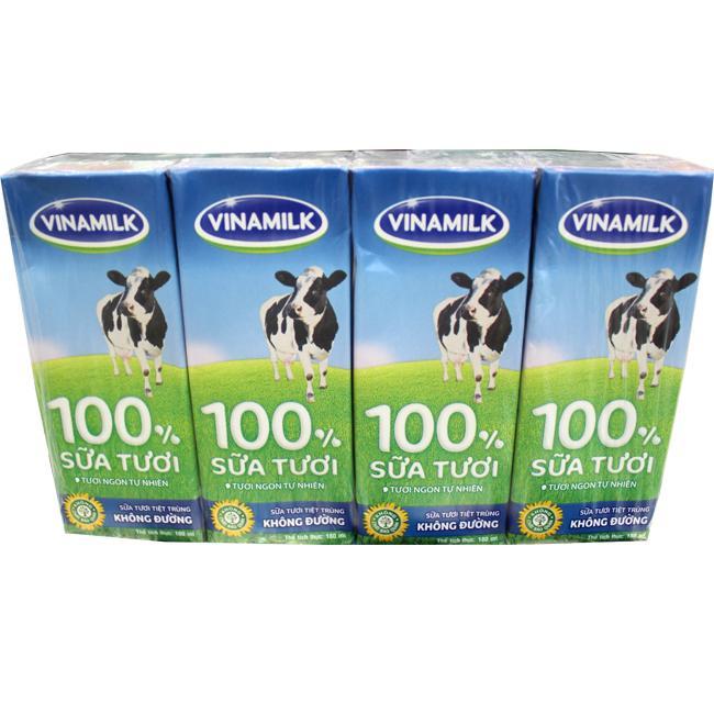 Sữa Tươi Tiệt Trùng Vinamilk Không Đường 180ml
